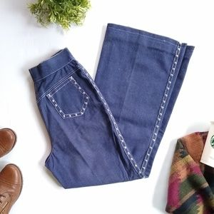Vintage studded high rise wide leg flared jeans